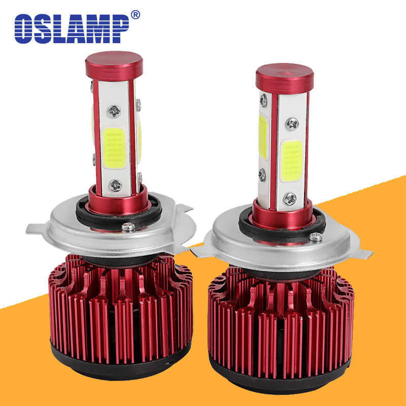 Oslamp 100W LED H7 H11 9005 9006 5202 Car LED Headlight Bulbs 4 Sides COB Chips Auto Lamp H4 Hi Lo Beam LED Car Light