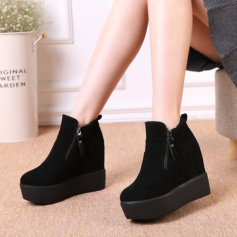 Increased Internal square heel women ankle boots platform antumn winter shoes woman fashion fur warm martin snow boots DBT1074 hee grand inner increased winter ankle boots warm fringe fashion platform women snow boots shoes woman creepers 3 colors xwx6180