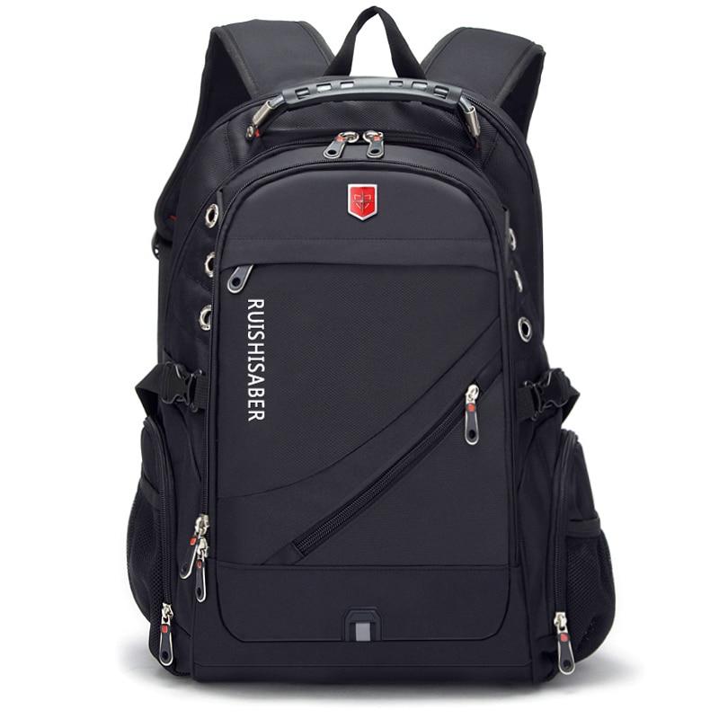 Image 2 - New Swiss Laptop Backpacks men External USB charge port for 17 Inch Waterproof Travel backpack Female Vintage School Bag mochila-in Backpacks from Luggage & Bags