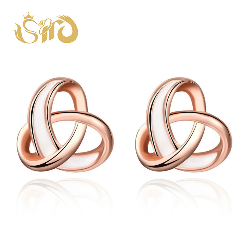Fashion Rose Gold Color Intersect Stud Earrings for Women Small Cute Earrings High Quality Gifts