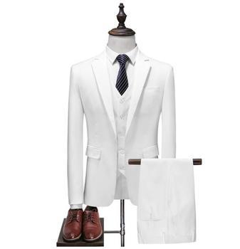 2018 New style wedding suits casual male blazer suit men's business party good quality suits men (Jacket+Vest+Pants) white suit