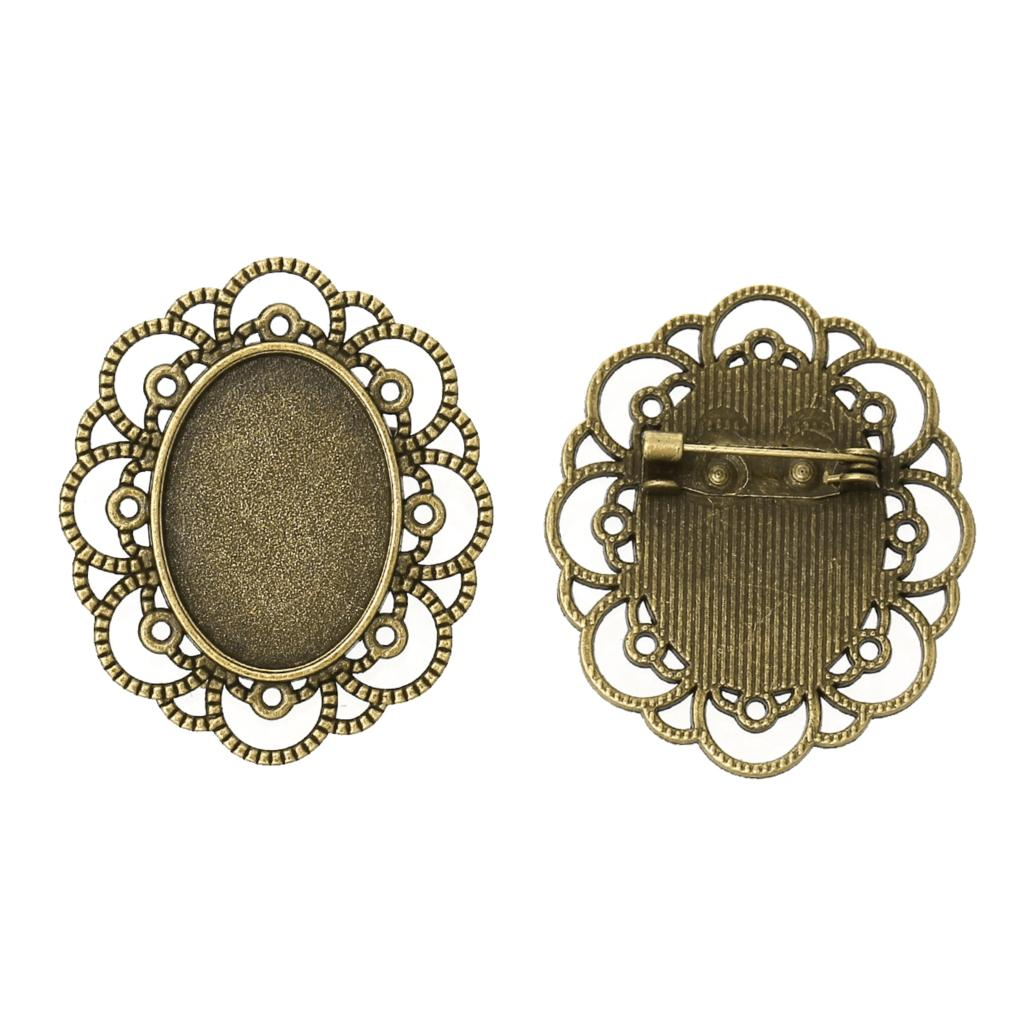 Zinc Metal Alloy Brooches Findings Oval Antique Bronze Cabochon Settings(Fits 25mm X 18mm)4cm X 3.4cm ,1 Piece