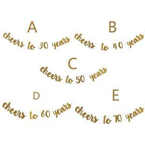 Image 2 - 골든 글리터 건배 30 40 50 60 70 년 영어 편지 문자열 플래그 생일 파티 배너 웨딩 파티 용품 장식품