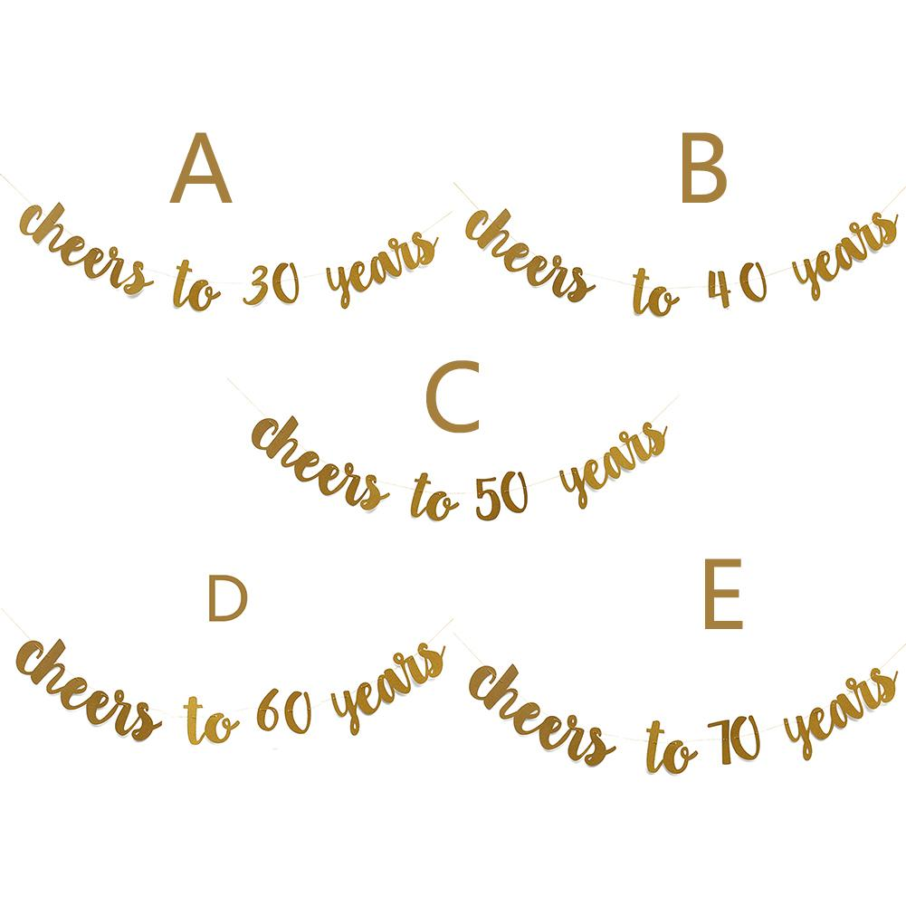 Image 2 - Golden Glitter Cheers To 30 40 50 60 70 Years English Letter String Flag Birthday Party Banner Wedding Party Supplies Ornament-in Banners, Streamers & Confetti from Home & Garden
