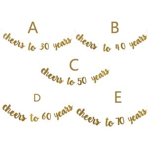 Image 2 - Golden Glitter Cheers To 30 40 50 60 70 Years English Letter String Flag Birthday Party Banner Wedding Party Supplies Ornament