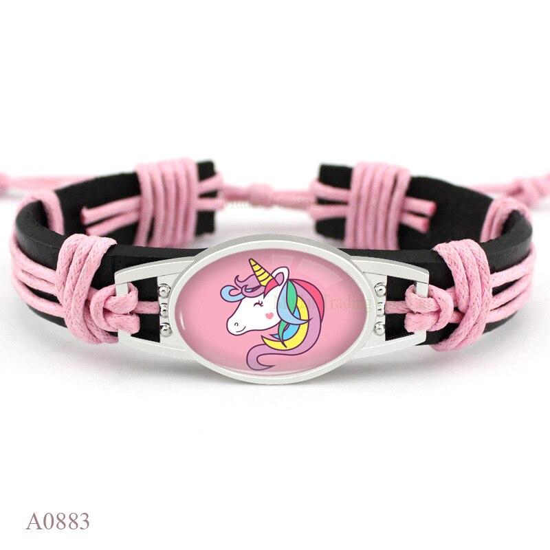 (10PCS/lot) Unicorn Glass Cabochon Charm Unicorn's Are My Spirit Animal Bangle Bracelet Leather Bracelets for Women Men Jewelry