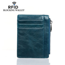 Wholesale Card Holder Genuine Leather Id Holders Convenient ID Pocket Bank Credit Case Anti-magnetic Thin Wallet