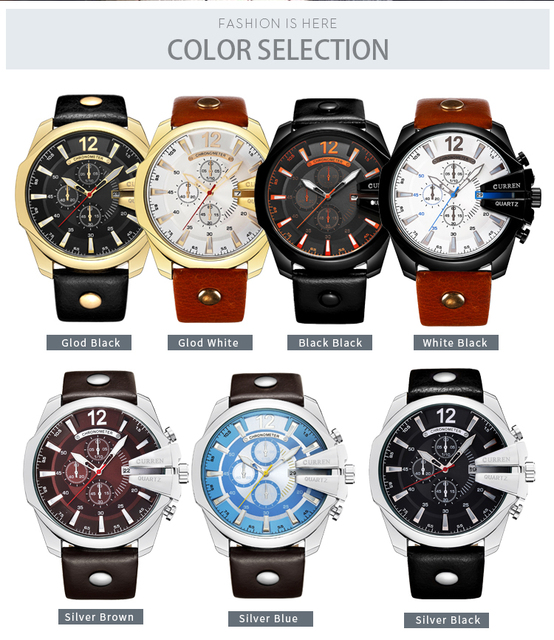CURREN Men's Top Brand Luxury Leather Chronograph Calendar Date Display Quartz Watches 4