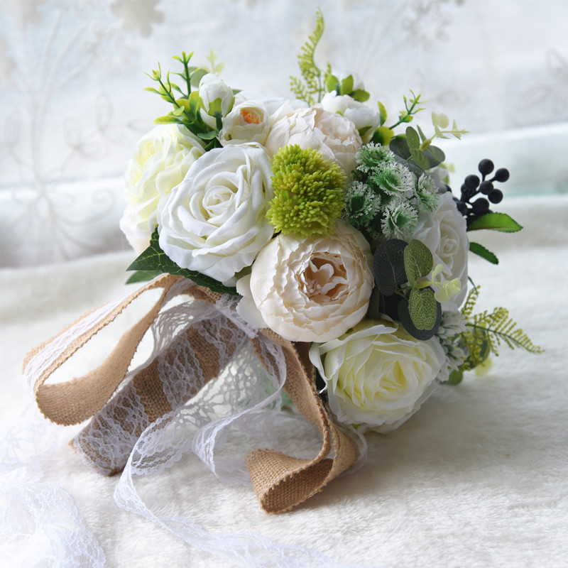 2019 Wedding Bouquet for Bride Woman Mariage Artificial Wedding Bouquets Rose Flowers Holder  Wedding Photography Props