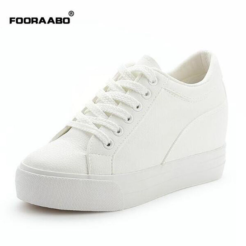 Fooraabo 2017 Fashion Casual Women Shoes Height Increasing Ladies Shoe Hidden Wedge Lace Up Pu Leather Female Shoes White Spring