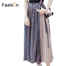 ФОТО 2018 women long skirt chiffon saia beach bohemian maxi skirts elegant summer high waist casual harajuku floral print plus size