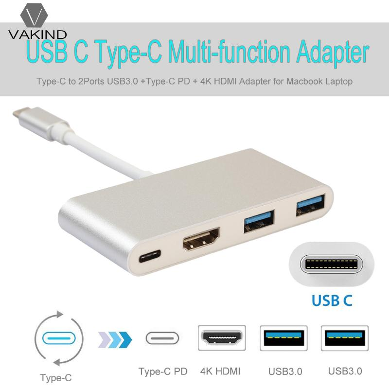 Type-C Male to 2 USB 3.0 +Type-C PD + 4K HDMI Adapter Aluminium Alloy Metal Converter Cable for Macbook Laptop Notebook PC a type hdmi 1 4 male to mini hdmi 1 4 female c type extension cable adapter 10cm for laptop pc hdtv