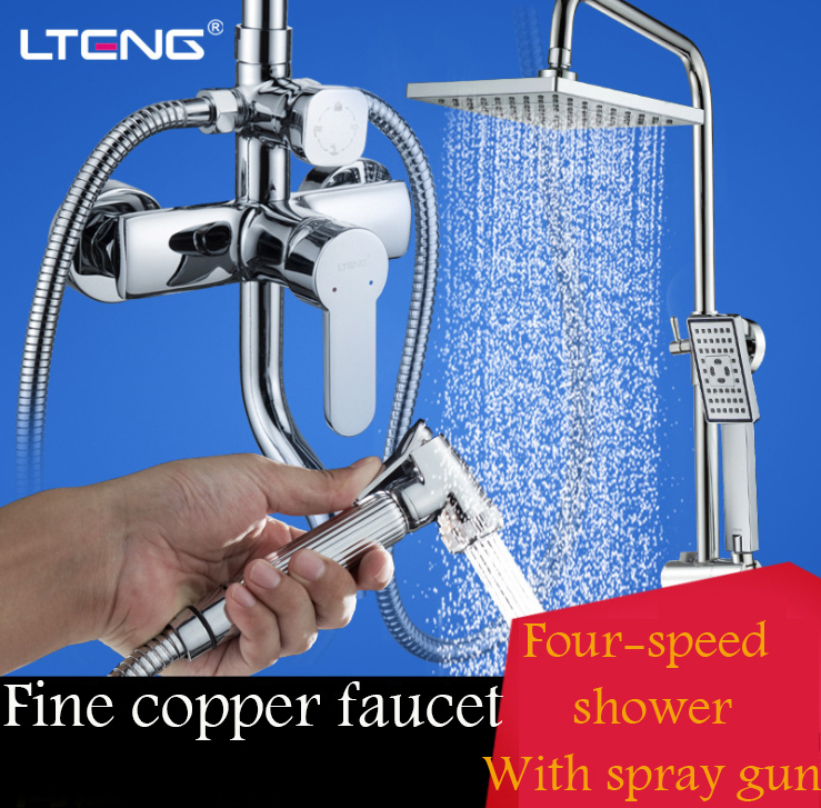 LTENG bathroom shower set with women 39 s wash spray gun copper shower faucet ceramic spool warranty 5 years shower system freeship in Shower System from Home Improvement
