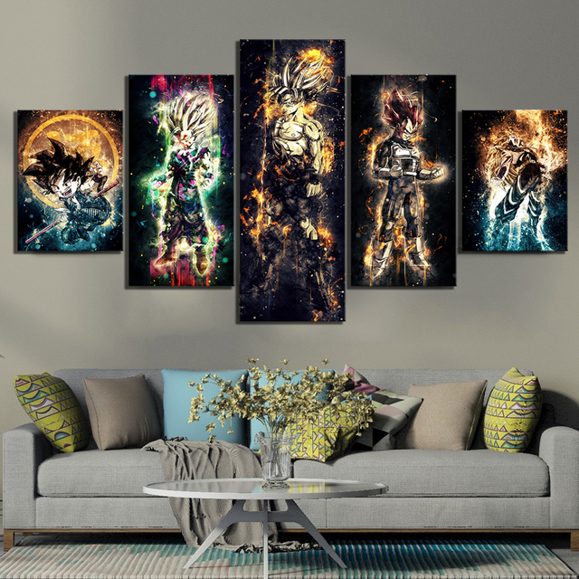 Wall Art Canvas Paintings 5 Pieces Dragon Ball Pictures Prints Home Decoration Animation Poster Living Room Modular Frame