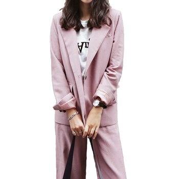 Women suits office sets suit female business uniform OL spring pink casual solid color jacket + pants two-piece suit