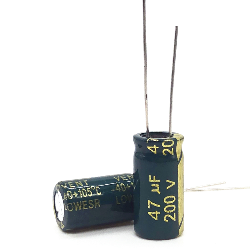 10pcs/lot 200V 47UF 10*20 20% RADIAL Aluminum Electrolytic Capacitor 47000nf