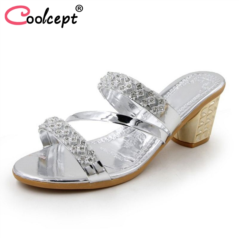 40 Oro Crystal Sexy Elegante Coolcept Zapatos Mujeres Toe Señoras Boda Tamaño plata Reunión 35 Sandalias Square Calzado Tacones Altos Moda TTfU4nq