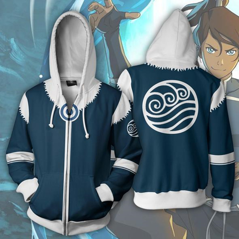 Avatar:The Legend of Korra Cosplay Pro-Bender Korra Costume Sweatshirt Fashion zipper Hoodie Cartoon 3d printed vest and hoodie