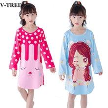 2018 Autumn Girls Nightgown Long Sleeve Pajamas For Girl Children Sleepwear Cartoon Kids Night Dress Teen Nightdress
