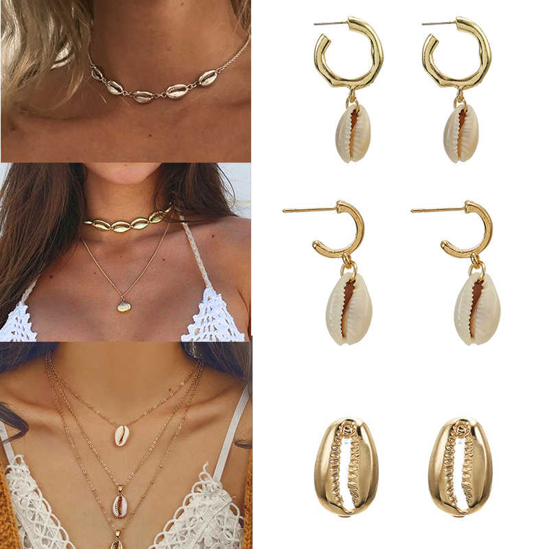 New Fashion Crystal Pearl Shell Jewelry Sets For Women 2019 shell Earrings Necklaces Statement Shell Jewelry NE+EA