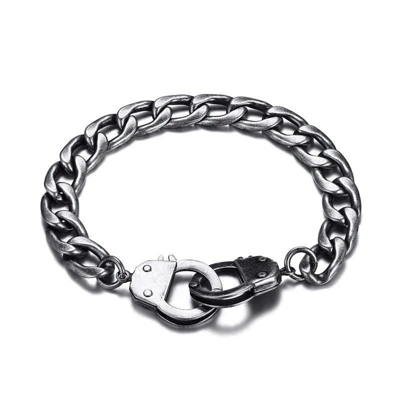 Hip Hop mężczyzna bransoletka łańcuszek Unisex Chunky Link srebrny/złoty/czarny/Retro szary ze stali nierdzewnej IP mężczyzna akcesoria biżuteria