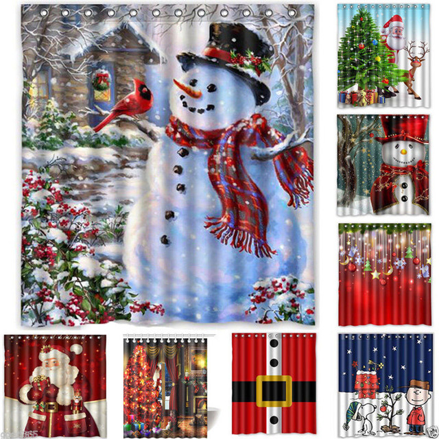 Waterproof Bathroom Shower Curtain Christmas Curtains For The Sheer Hanging Panel 165x180cm Hooks Set