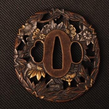 Narin Kılıç Bağlantı Altın ve Gümüş Tsuba el koruması için Japon Kılıç Samuray Katana veya Wakizashi Oyma Bitkiler Metal El Sanatları
