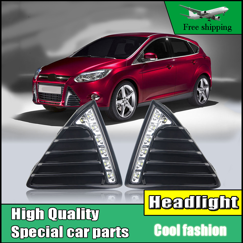 2 PCS Gloss Model 12v LED Car DRL daytime running light Bumper Front Fog lamp DRL style For Ford Focus MK3 2012 2013 2014 for opel astra h gtc 2005 15 h11 wiring harness sockets wire connector switch 2 fog lights drl front bumper 5d lens led lamp