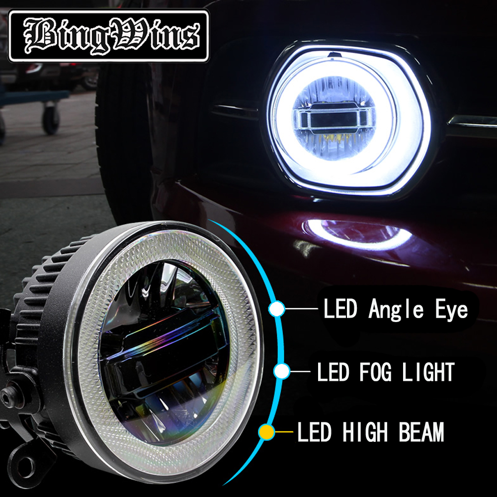 Car Styling Angel Eye Fog Lamp for Ford Explorer LED DRL Daytime Running Light High Low Beam Fog Light Automobile Accessories cawanerl 2 x car led daytime running light drl fog lamp 12v dc car styling high quality for ford ranger 2012 2015