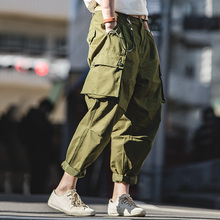 MADEN mens loose overalls multi pocket green casual pants cotton harem pants men