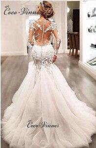 Image 4 - Full Sleeves Illusion Back Lace Mermaid Wedding Dresses Plus Size Custom Made Wedding Dress 2020 Embroidery Bride Dress W0037