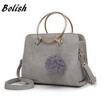Bolish Nubuck Leather Women Messenger Bag Korean Small Female Handbag Retro Tide Satchel Bag Metal Wrist Women Shoulder Bag