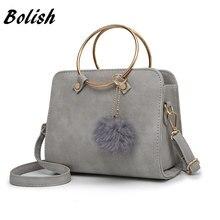 Bolish Nubuck Leather Women Messenger Bag Korean Small Female Handbag Retro Tide Satchel Bag Metal Wrist Women Shoulder Bag