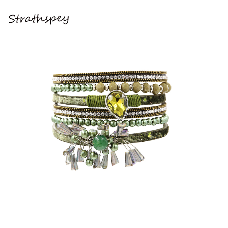 STRATHSPEY Bohemian Multilayer Green Brown Color Bracelet Yellow Crystal Beads Tassel Leather Bracelets Bangle for women Jewelry