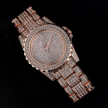 New Gypsophila Womens Fashion Business Style Quartz Watch High-end Full Rhinestone
