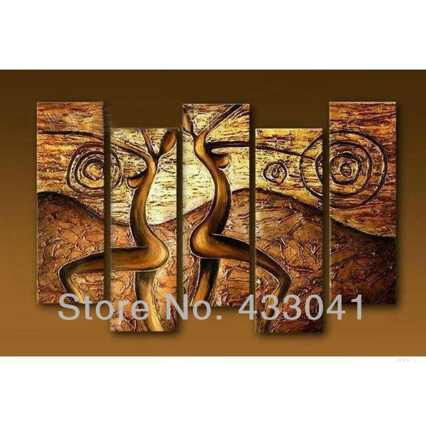 Hand Painted Modern Abstract Nude Female Body Woman Bronze Oil Painting On  Canvas Home Decoration Wall