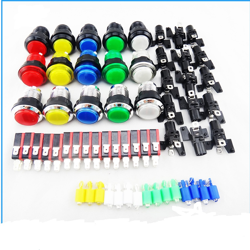 30 Pcs/lot Arcade 30mm Led lit Illuminated Push Buttons Built-In 5V LED Light With Micro Switch 15 color for choose