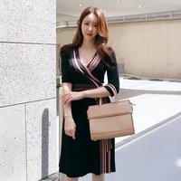 Women Classic Fashion Black Dress Striped V Neck Long Sleeve Belted Slim Mid Dress Ladies Elegant