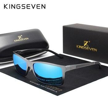 KINGSEVEN ออกแบบแบรนด์แฟชั่นอลูมิเนียมแมกนีเซียมแว่นตากันแดดผู้ชาย Polarized Driving แว่นตา UV400 Oculos N7021
