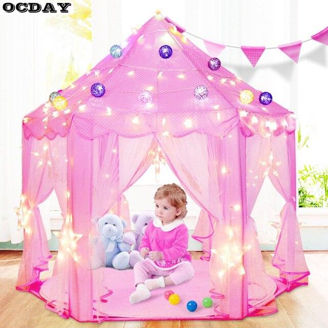 Folding Tipi Children Tent Play House Lovely Girls Princess Castle ...