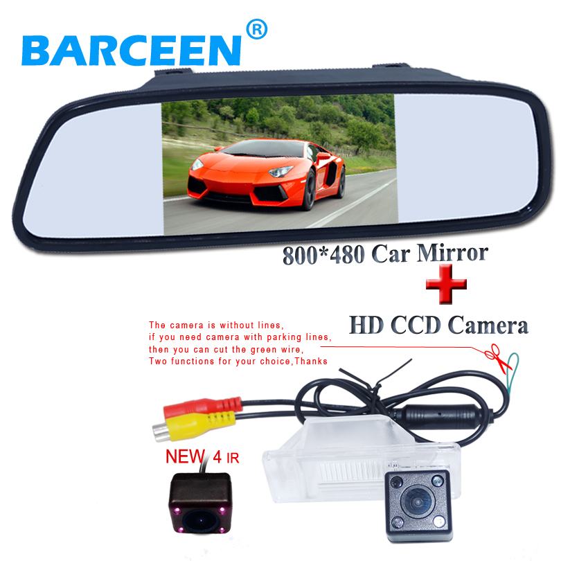 5  HD LED 800*480 Rear View Mirror Monitor+CCD Car rear view camera for Nissan QASHQAI X-TRAILGeniss Sunny/For Peugeot 307 408 foldable car rear monitor color screen black shell wire car rear view camera 4 led for peugeot 206 207 407 307 sedan 307sm