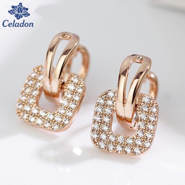 plated round gold small piercing shaped for in unique earring earrings from square huggie gulicx hoop cz color women earing jewelry brand item