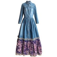 ФОТО webcasts 2014 spring and summer pattern fabric belt scarf three quarter sleeve denim one-piece dress full dress blue