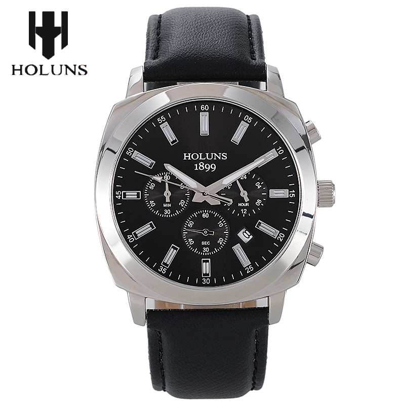 2018 men quartz watch black big dial leather mens watches top brand luxury relogio masculino 3ATM waterproof HOLUNS dropshipping все цены