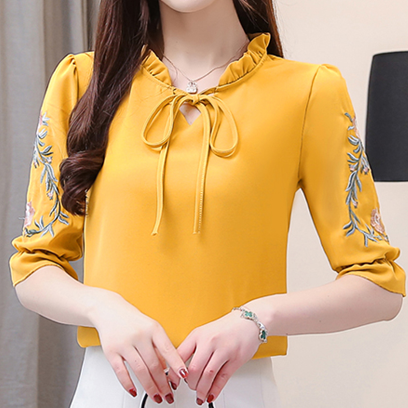 Women Shirts Chiffon Bluose Women Korean Office Lady Embroidery Shirt For Woman Plus Size Tops Ladies Floral Tops Blouses Female