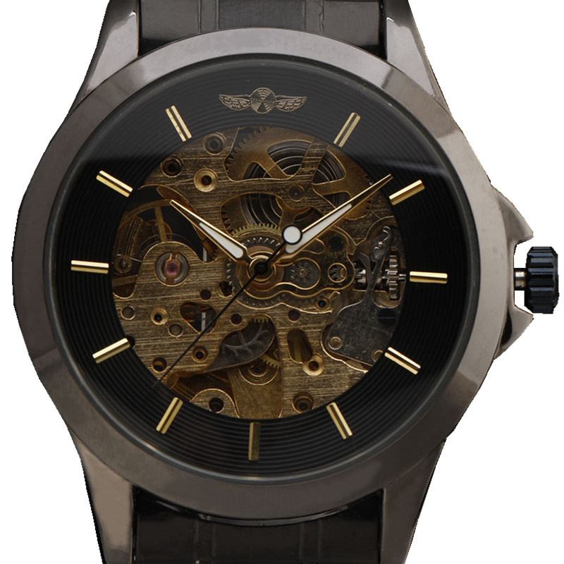 WINNER Luxury Men Black Stainless Steel Strap Mechanical Wristwatch Hollow Dial Bare Movement Male Gift Skeleton Automatic Watch 2017 black rose gold winner men watch cool mechanical automatic wristwatch stainless steel band male clock skeleton roman dial