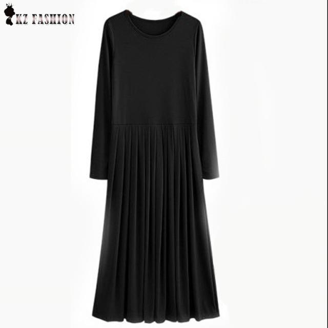 Vestido Feminios 2016 Осень 5XL Плюс Размер Длинные Платья С Пояса Плиссе Высокая Натяжные Твердые Цвета Вскользь Макси Dress D63704R