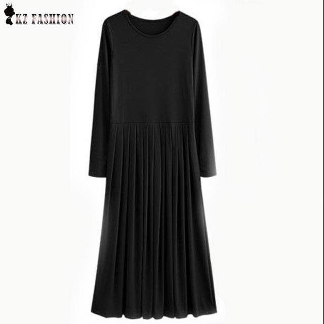 Vestido feminios 2016 otoño 5xl más el tamaño de vestidos largos con sashes plisado de alta stretch colores sólidos casual maxi dress d63704r