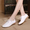 2016 Women Solid Flats Girls White Oxford Shoes Lace Up Female Flats Shoes Soft Leather Shoes For Woman Platform Shoes Woman