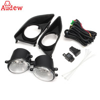 2Pcs H11 Car Front Bumper Left Right Fog Light Lamp Black Grille Covers Switch H11 Bulbs